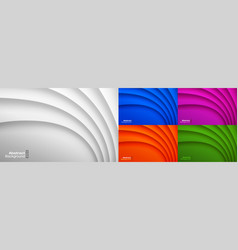 colorful paper wavy background set vector image