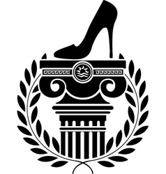 Column laurel wreath and womens shoe vector