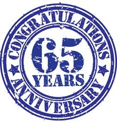 Congratulations 65 years anniversary grunge rubber vector image