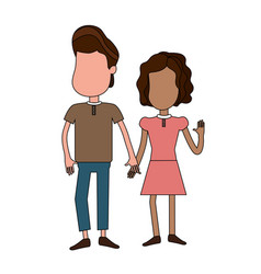 Cute boy and girl with casual wear vector