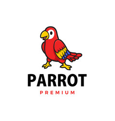 cute parrot cartoon logo icon vector image