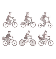 Cyclists set men and women on bikes vector