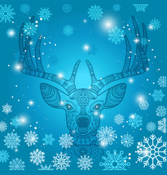 Deer and snowflakes doodle background vector