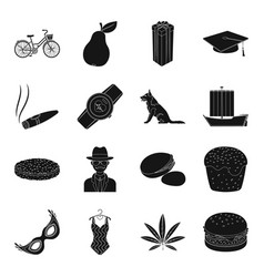 Drug clothing animal and other web icon in black vector