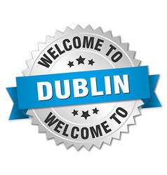 Dublin 3d silver badge with blue ribbon vector