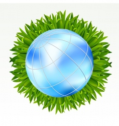 earth with grass vector image