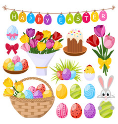 Easter day decorative icons set vector