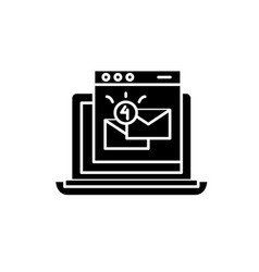email marketing black icon sign on vector image