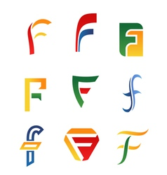 f alphabet symbols and icons vector image