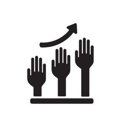 Flat icon in black and white hand graph vector image vector image