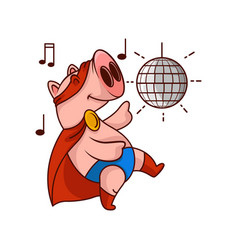 Funny pig superhero in dancing action party with vector