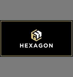 gh hexagon logo design inspiration vector image