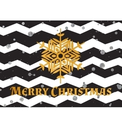 Gold textured snowflake and text Merry Christmas vector image
