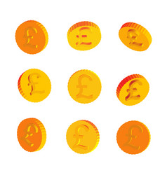 golden coins with pound symbols vector image
