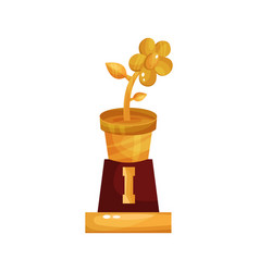 Golden statuette of flower pot floristry and vector