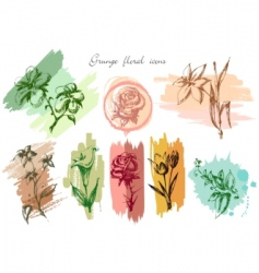 grunge floral icons vector image