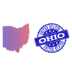Halftone gradient map of ohio state and grunge vector