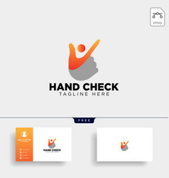 Hand check approval community logo template icon vector