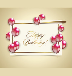 Happy birthday banner with golden ribbon and red vector