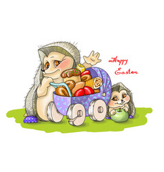 happy eastertwo hedgehogs vector image