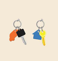 House and car key with keyholders icons real vector