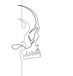 Human skull continuous line art vector