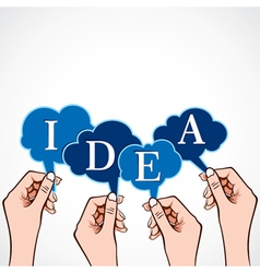 idea word in bubble message in hand vector image