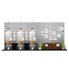 Interior scene of vintage barber shop vector
