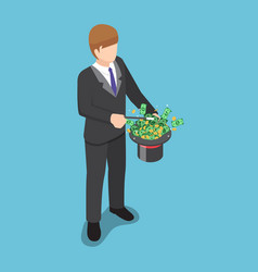 Isometric businessman use a magic trick to making vector
