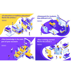 Isometric set article for education vector