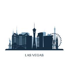 Las vegas skyline monochrome silhouette vector