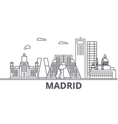 Madrid architecture line skyline vector