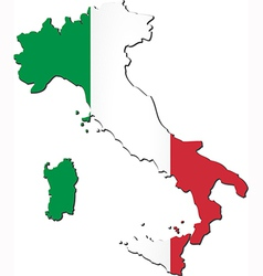 map italy with national flag vector image
