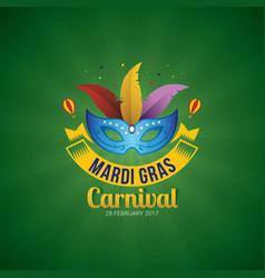 mardi gras mask holidays poster template vector image