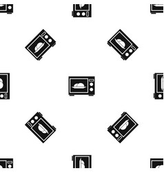microwave pattern seamless black vector image
