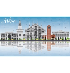 Milan Skyline with Gray Landmarks vector