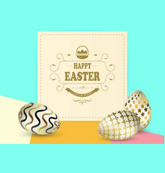 multicolor composition with easter eggs with a vector image