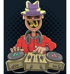 Night club dj playing music on a sound mixer vector