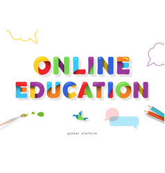 Online education bright banner distance learning vector
