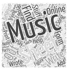 Online sheet music Word Cloud Concept vector