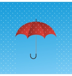 Opened red umbrella protecting from rain vector