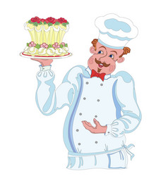 Pastry chef with cake vector