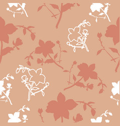 Peach and white florals seamless pattern vector