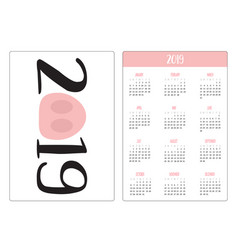 Pig piggy snout nose simple pocket calendar vector