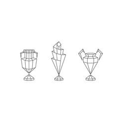 polygonal winner cups set vector image
