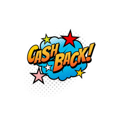 pop art comic cash back cloud isolated sign icon vector image