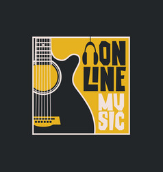 poster for online music with a guitar vector image