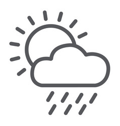 rain line icon day and sky weather sign vector image
