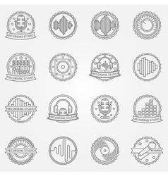 Recording studio labels set vector