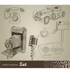retro doodle set vector image vector image